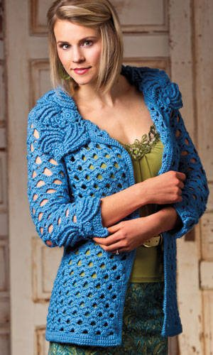 crochet flower jacket Pin It! Crochet! Magazine Giveaway