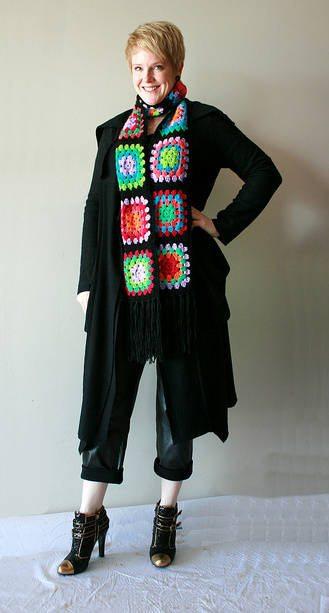crochet granny squares scarf Designer Crochet: Giorgio Armani