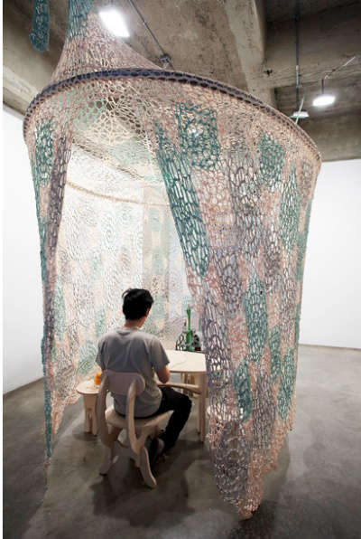 ernesto neto crochet Ernesto Neto Crochet Nets Reminiscent of Horiuchis Crocheted Playground