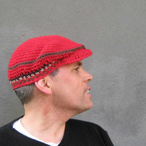 Crochet Mens Hat : Men?s Red Driver?s Cap by bigalhats