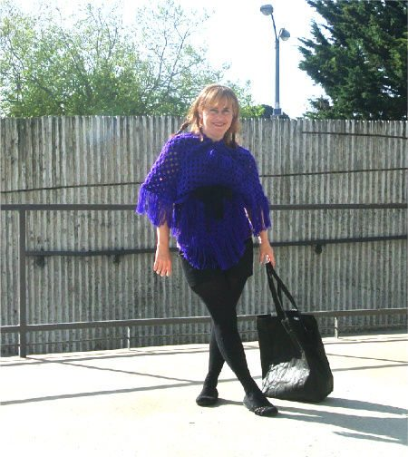 purple poncho 365 Ways to Wear Crochet: Belted Poncho