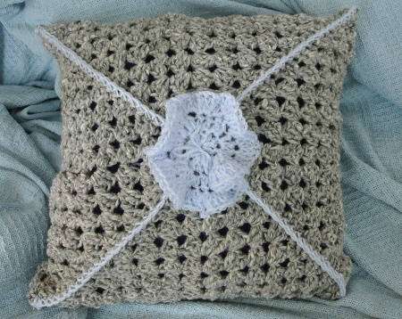 back of crochet pillow Repurposing One Crochet Pillow Into Another