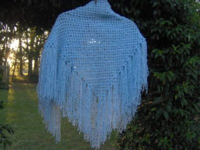 blue crochet shawl 400x300 10 Crochet Shawls in Trees (and 8 Other Ways to Display your Finished Shawl)