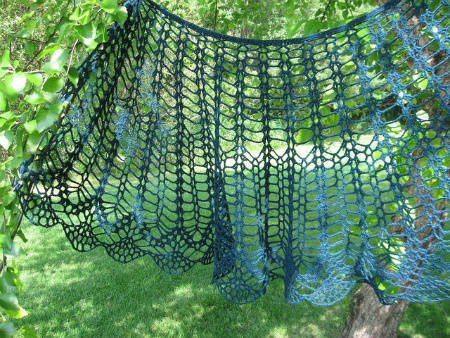 blue lace crochet shawl 10 Crochet Shawls in Trees (and 8 Other Ways to Display your Finished Shawl)