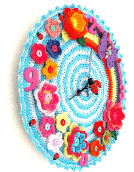 bright crochet wall clock 20 Most Sensational Crochet Clocks