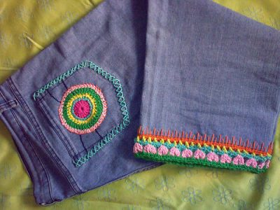 colorful crochet jeans 400x300 10 Ideas for Upcycling Denim with Crochet