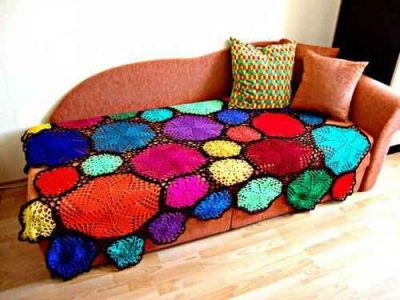 colorful doily blanket 400x300 When A Doily Is Not Just a Doily: Curtains, Clocks, Necklaces and Other Upcycled Doily Ideas