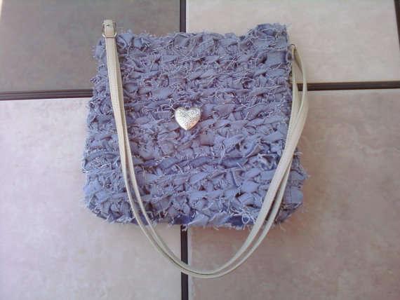 crochet denim purse