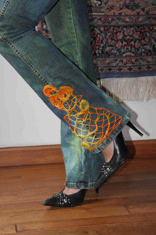 crochet embellished jeans