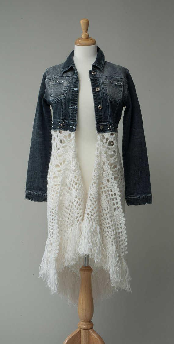 Crochet Jeans : crochet jean jacket