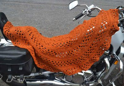 crochet shawl motorcycle 400x277 10 Crochet Shawls in Trees (and 8 Other Ways to Display your Finished Shawl)