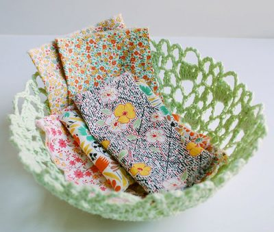 doily bowl 400x339 When A Doily Is Not Just a Doily: Curtains, Clocks, Necklaces and Other Upcycled Doily Ideas