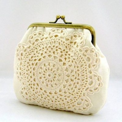doily clutch 400x400 When A Doily Is Not Just a Doily: Curtains, Clocks, Necklaces and Other Upcycled Doily Ideas