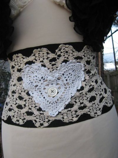 doily corset 400x533 When A Doily Is Not Just a Doily: Curtains, Clocks, Necklaces and Other Upcycled Doily Ideas