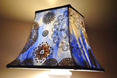 doily lamp 400x268 When A Doily Is Not Just a Doily: Curtains, Clocks, Necklaces and Other Upcycled Doily Ideas