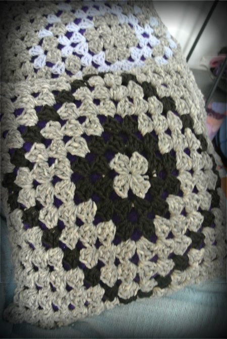 granny square pillows Upcycling Crochet Pillow Into Oversize Shrug