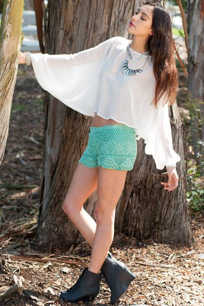 green crochet shorts 25 Ravishing Pairs of Crochet Shorts