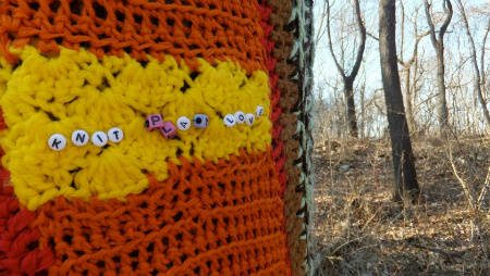 knit graffiti Found Art Crochet Artist Melissa Maddonni Haims