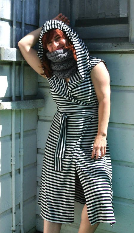 match cowl to dress Crochet Style Ideas for Bold Black and White Wrap Dress