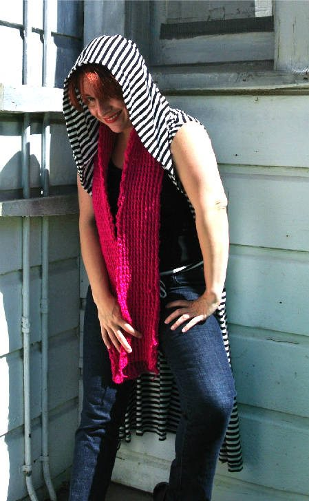 match scarf and dress Crochet Style Ideas for Bold Black and White Wrap Dress