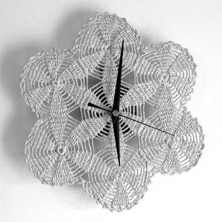 silver crochet wall clock 20 Most Sensational Crochet Clocks
