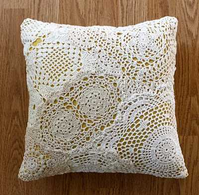 upcycled doily pillow When A Doily Is Not Just a Doily: Curtains, Clocks, Necklaces and Other Upcycled Doily Ideas