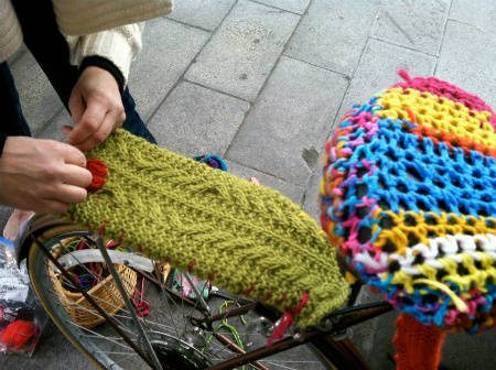 yarnbombed bike Found Art Crochet Artist Melissa Maddonni Haims