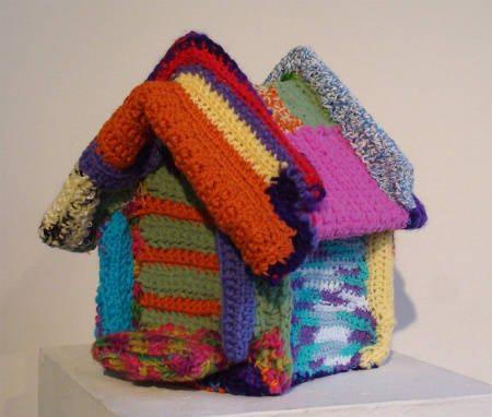 yarnbombed birdhouse Found Art Crochet Artist Melissa Maddonni Haims