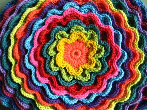 blooming flower crochet cushion