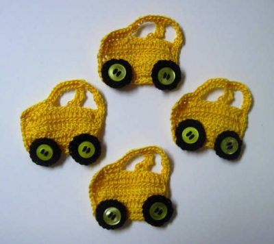 crochet car 400x356 15 Fun Project Ideas for Crocheters who Love Buttons