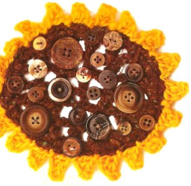 crochet sunflower buttons 15 Fun Project Ideas for Crocheters who Love Buttons