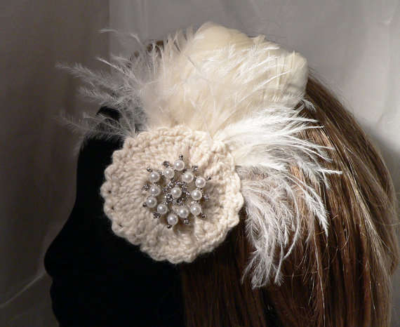Crochet Hair For Wedding : crochet wedding fascinator