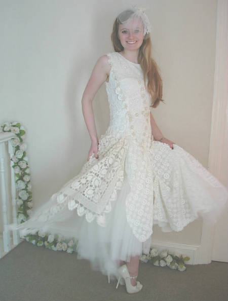 filet crochet wedding dress 12 Crochet Wedding Dresses for Those Summer Weddings