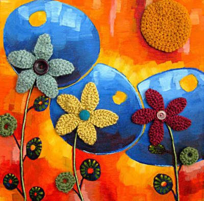 mixed media art1 400x394 15 Fun Project Ideas for Crocheters who Love Buttons