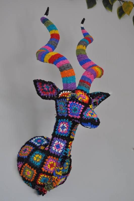 plarn crochet trophy head Plastics Crochet Artist Magda Van der Vloed