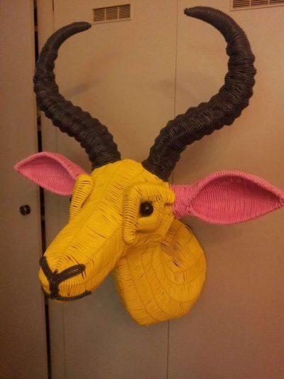 recycled phone cord sculpture 400x533 Plastics Crochet Artist Magda Van der Vloed