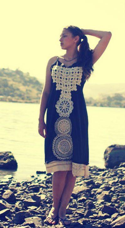 upcycled doily dress