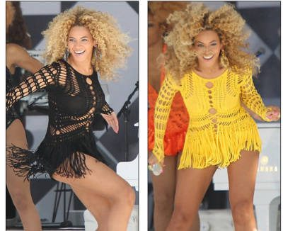 beyonce yellow dress One Year Ago in Crochet  (7/5 7/14)