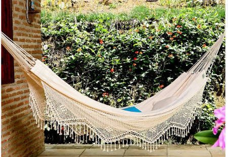 cream crochet hammock Summer Days: 12 Gorgeous Crochet Hammocks for Relaxation and Rejuvenation