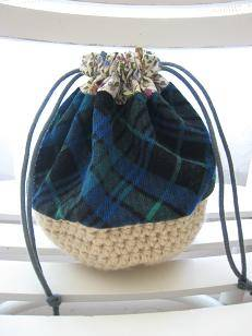 crochet drawstring pouch 20 Inspiring Ideas for Combining Crochet with Fabric