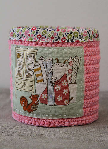 crochet fabric container 20 Inspiring Ideas for Combining Crochet with Fabric