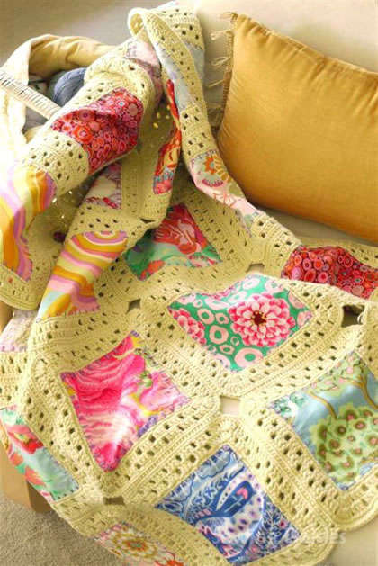 crochet fabric quilt 20 Inspiring Ideas for Combining Crochet with Fabric