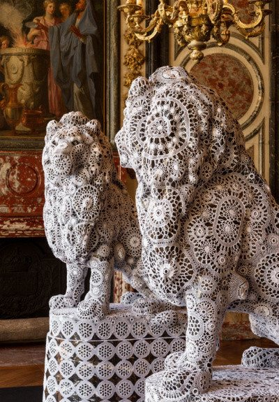 crochet lace lions Knot After Knot: Online Crochet Art Exhibit