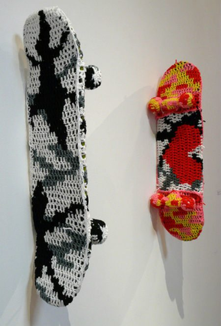 crochet skateboards How Does Olek Get Those Cool Camo Patterns to Work Out?