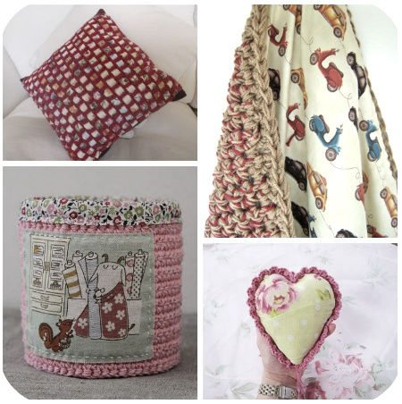 crochet fabric combination embellishments sewing pillows containers stash
