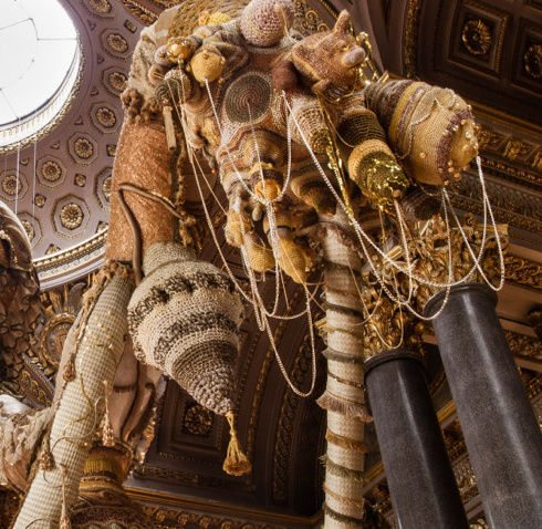 golden valkyrie joana vasconcelos Crochet Works in Vasconcelos Versailles Exhibit