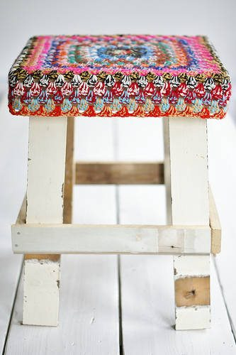 granny square stool Upcycling Knit and Crochet Artist Samantha Claire Wilson