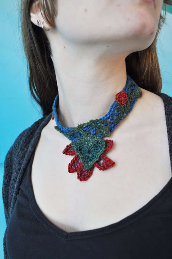 Crochet Necklace : hemp crochet necklace