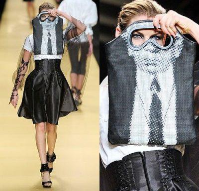 karl lagerfeld face bag 400x384 Designer Crochet: Karl Lagerfeld