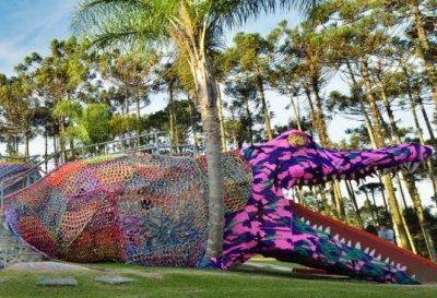 olek crochet alligator 400x273 Crochet Playground for Burning Man 2014